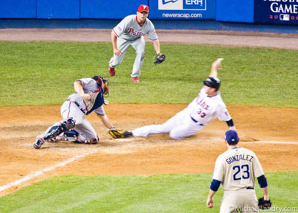 Justin Morneau beats the tag and wins the 2008 All Star Game for the American League