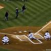 The Ceremonial First Pitch; Reggie Jackson, Yogi Berra, Whitey Ford, & Goose Gossage throw to Alex Rodriguez, Joe Girardi, Derek Jeter, and Mariano Rivera (respectively)