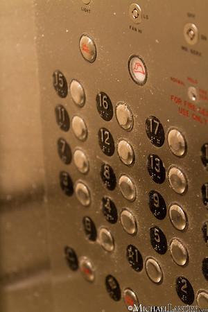 Inside the elevator in my building... no idea how dirt got here.  Park Slope, Brooklyn Tornado 9/16/10 - (c) Michael Landry.com