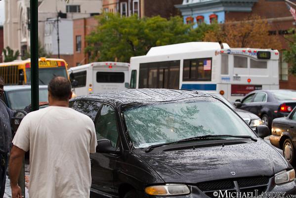 Dented roof on the minivan  Park Slope, Brooklyn Tornado 9/16/10 - (c) Michael Landry.com