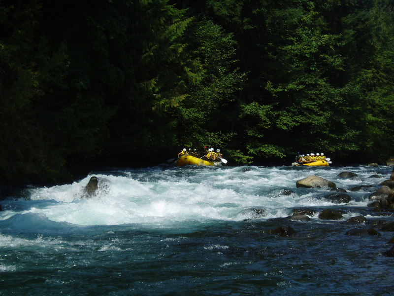 Some of the rafts coming through a few easy rapids.