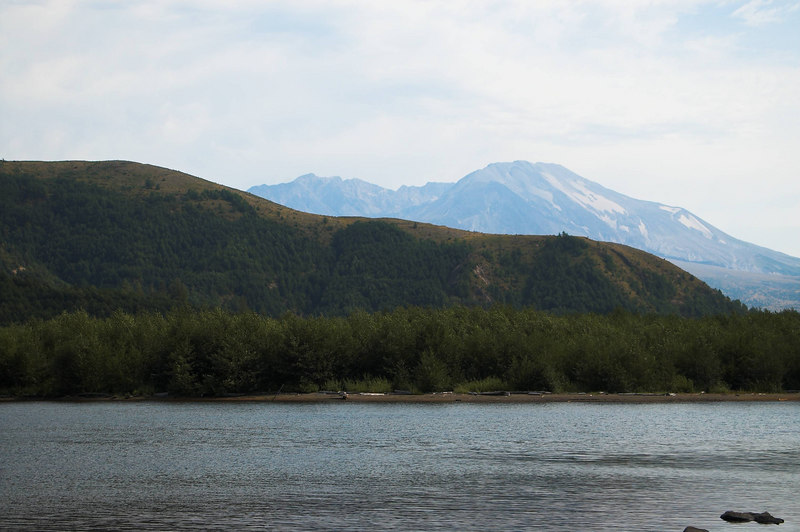 Mt St Helens hiding behind the banks of Coldwater Lake