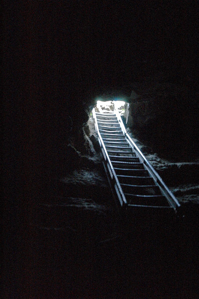 The ladder down into Ape Caves