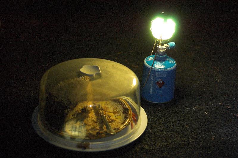 Cake at night.
