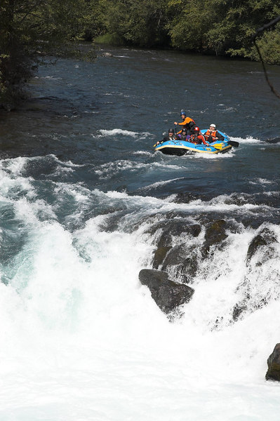 A raft approaching the falls