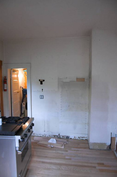 This is where the fridge used to be.  You can see the wall hiding the chimney on the right.