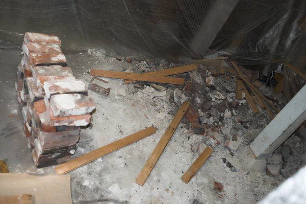 This is the rubble pile in the basement.