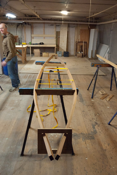 The forms are set in place, shaping the gunnels.