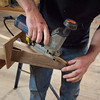 Using a jigsaw to miter the ends of the gunnels