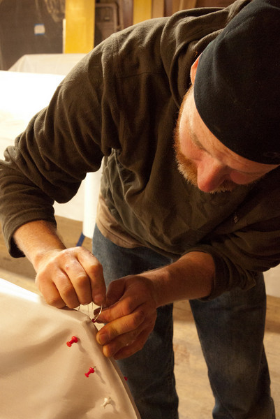 Brian showing us how to sew the stern stem