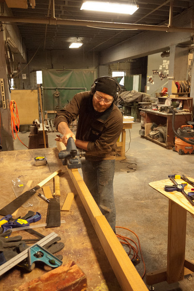 Brian used a power plane to quickly clean up the bandsaw lines