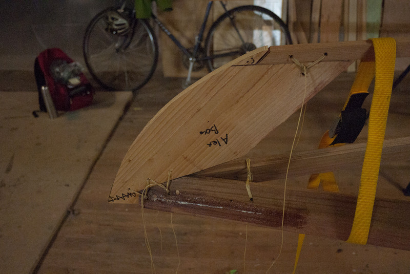 The cut bow stem is tied into the frame
