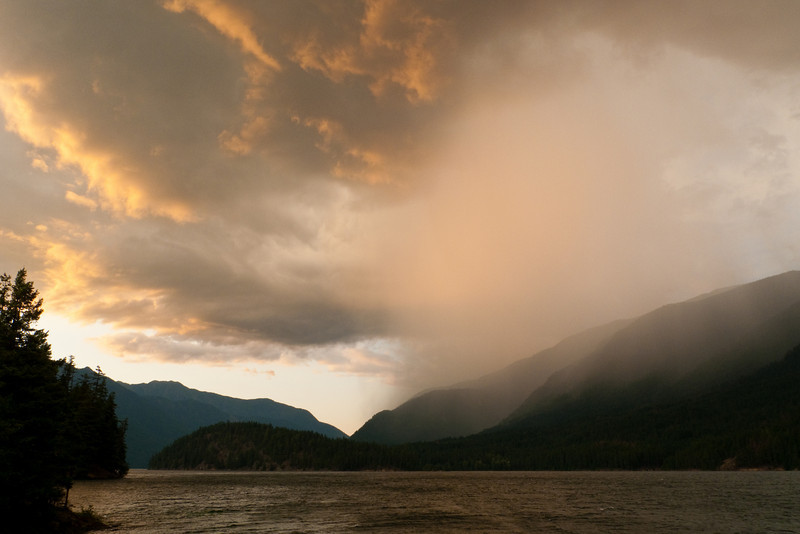 Rain moving in over Cougar Island
