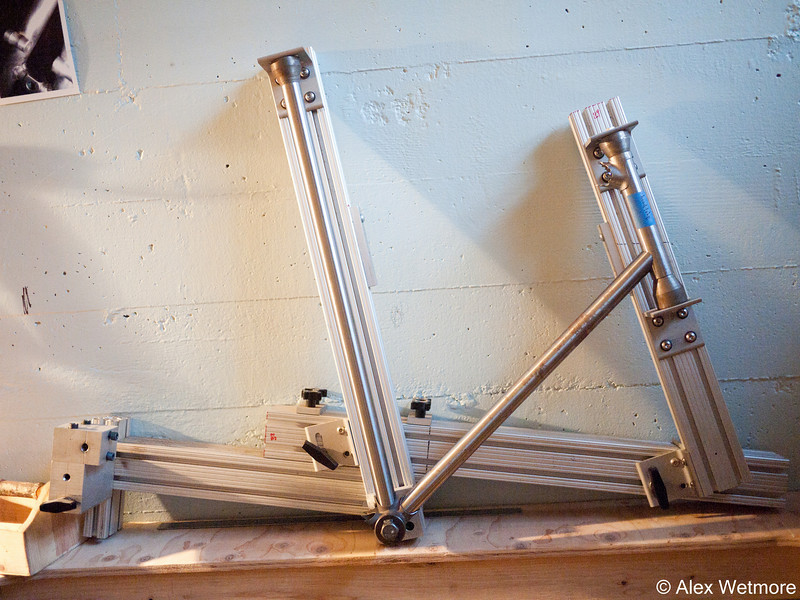 Whole fixture view.  The top tube length is adjusted by sliding the front main beam forward.