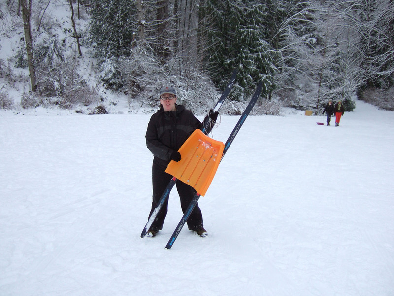 We broke the sled, so we made this replacement with some old wooden xc skis.  It's really fast!