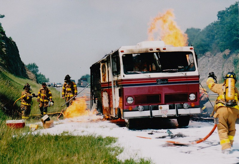 Bozrah Fire operates at a Natural gas feed fire involving a camper. On Rt-2