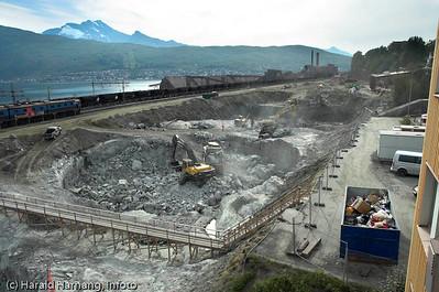 SILA-utbygging av silo og lager rundt 2006-2007. Den største utbyggingen etter Melkøya oljeterminal. Foto: August 2005.
