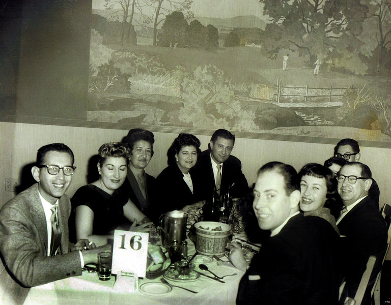 L to R  Marty, Judy (Paul and Sadie's Daughter), Aunt Sadie, Mom and Dad Eugene and Toby, Uncle Paul Sheila and Morty