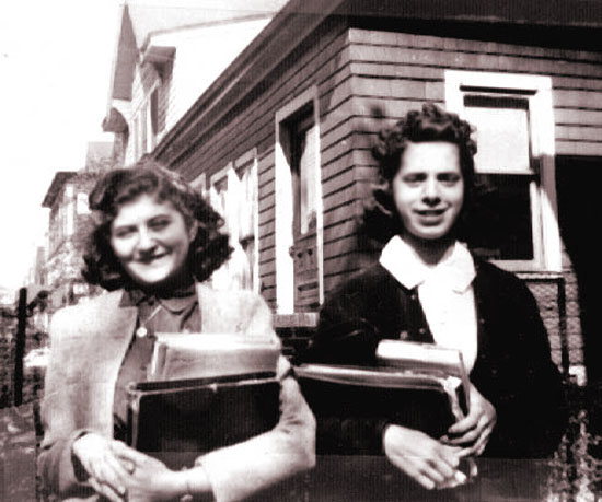 Cynthia Schwartz on left with friend Rhoda Hyman, on their way to high school.  Rhoda's father was a dentist and they lived on E. 14th street, two blocks away. Both were in their freshman year.