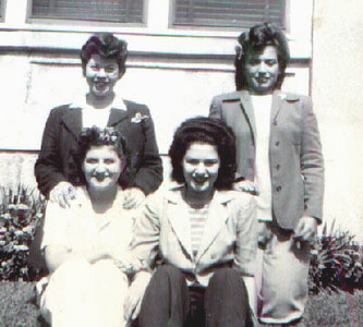 In front of Cynthia's house on 49th Street.  Cynthia with friends.