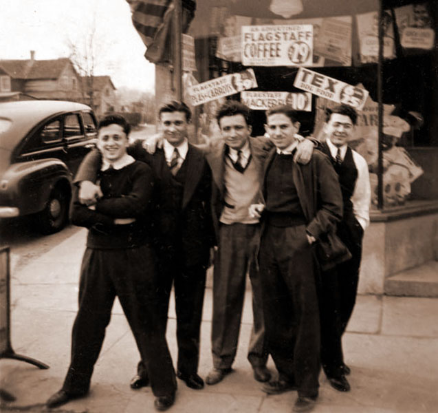 Long Branch, New Jersey in front of Uncle Jake Siegal's Grocery Store.  L to R:  Leo Newman, Lenny Schwartz, Ben Samuelson, Bert Tunkel, Ray Tunkel.  (Leo and Ben were good friends of Lenny).