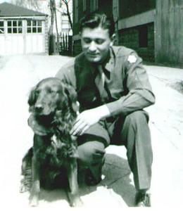 Lenny Schwartz at 49th street in Borough Park in Brooklyn.  Dog was an Irish Setter than belonged to a neighbor.