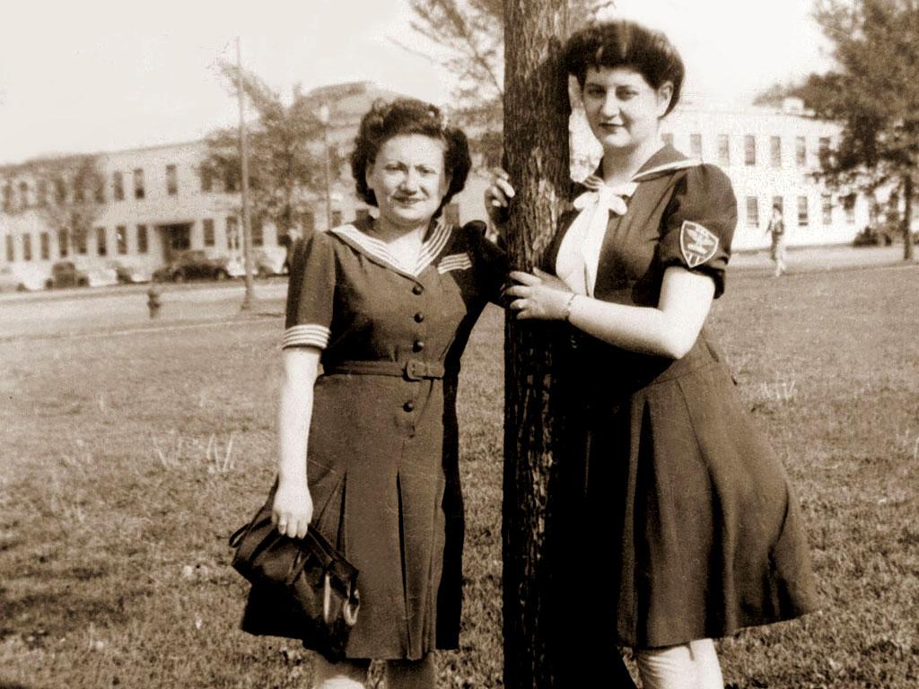 Bea Katz and Cynthia Schwartz in Washington, DC.  Wearing patriotic sailor dresses during war time.