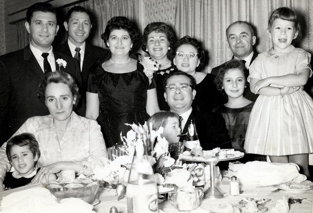 Left to Right  Front: Sheila, Julia, Deah, Sol, Chippi, Susan (Standing on chair)  Rear:  Lenny, Dudy, Cynthia, Bea Alpert, Bea Katz, Joe Katz