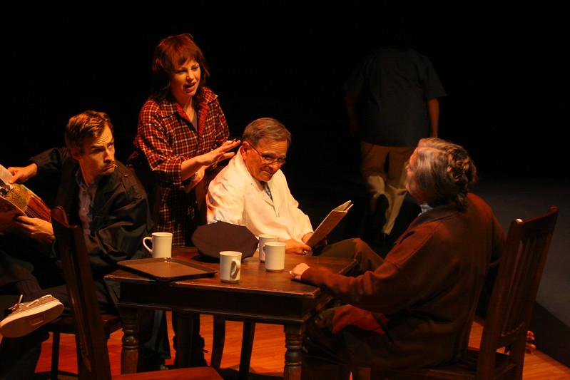 "The townspeople of Crosby, Maine, gossiping in the cafe (""River"")Patrick Alparone, Michelle Bellaver, Paul Finocchiaro, Patricia Silver; photo credit: Clayton Lord."