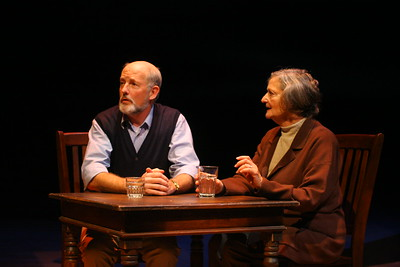 "Jack Kennison and Olive Kitteridge, dining at the ""Painted Rudder"" (""River"")Warren David Keith, Patricia Silver; photo credit:  Clayton Lord"