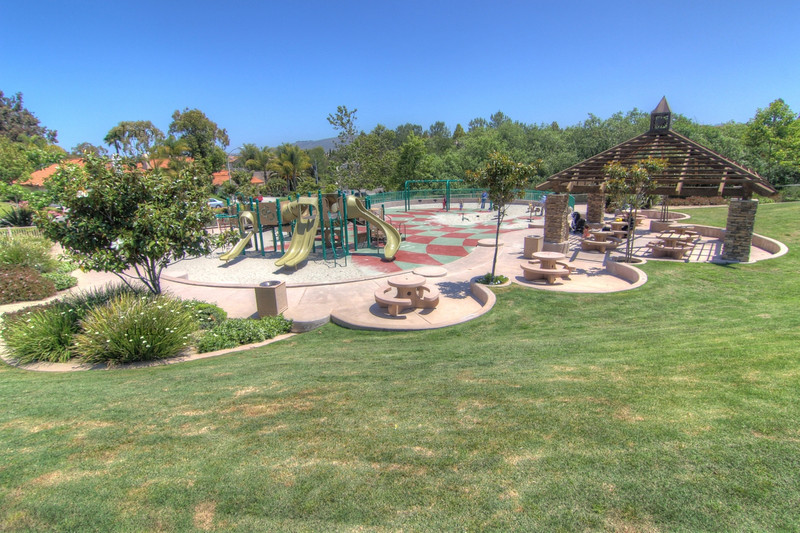 Sun Vista Park playground and shaded tables in Olivenhain a community in Encinitas Ca