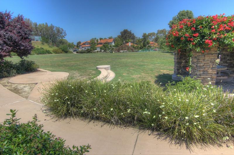 Sun Vista Park pergola and lawn in Olivenhain a community in Encinitas Ca