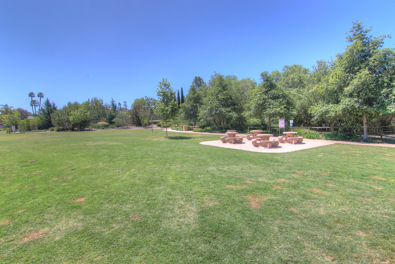 Sun Vista Park picnic tables and lawns in Olivenhain a community in Encinitas Ca