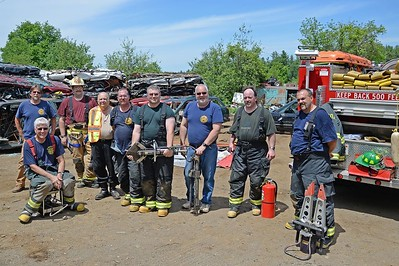 On June 14, 2015 HVFCo., with support from the Town of Haddam, donated used Hurst vehicle extrication tools to the Acworth Volunteer Fire and Rescue Company (N.H.). Haddam Fire also provided hands-on training to eight members of the department. (Photo by Olivia Drake)
