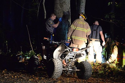 Haddam Volunteer Fire Company responded to an accident at 4:40 a.m. Oct. 10, 2015 at the intersection of Filley Road and Jericho Road. Life Star later transported two patients to Hartford Hospital with what appear to be serious injuries. A driver, operating an all-terrain vehicle with a passenger, lost control of his ATV and crashed into a tree. The driver and his passenger were both thrown from the ATV. They were not wearing helmets. The patients were treated by Haddam Volunteer firefighters/EMTs and were transported to the landing zone on Beaver Meadow Road via Haddam Volunteer Ambulance Service and Chester Hose Company Ambulance. (Photo by Olivia Drake)
