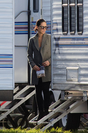 Olivia Munn on the set of Mortdecai