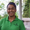 Ashleigh Hartley, of Chautauqua welcome gate staff, poses at the Hall of Philosophy on Wed, Jun. 28, 2017. OLIVIA SUN/STAFF PHOTOGRAPHER