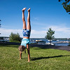 Madeline Yangas practices a handstand on South Lake Drive on Monday, Jul. 3. Yangas is nine, and from Virginia. OLIVIA SUN/STAFF PHOTOGRAPHER