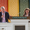 "James Fallows and Diane Winston engage in a question-and-answer session after the lecture ""From Reagan to Trump: Religion, Ethics and the News Media"", on Thursday, August 17, in the Hall of Philosophy. OLIVIA SUN/STAFF PHOTOGRAPHER"