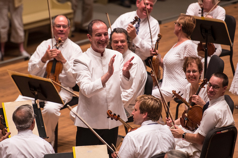 Rossen Milanov concludes the Chautauqua Symphony Orchestra concert Thursday, Jun. 29, 2017, at the Amphitheater. OLIVIA SUN/STAFF PHOTOGRAPHER