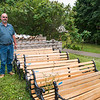 George Crandall stands outside his shop by the Turner bus gate on Tuesday, August 15.  Crandall frequently repairs benches on the grounds, which have a typical lifespan of two to three years. OLIVIA SUN/STAFF PHOTOGRAPHER