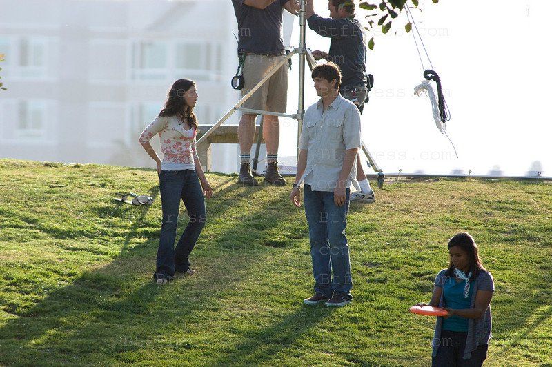 Olivia Thirlby filming an Yvan Reitman project, co-star, Ashton Kutcher and Natalie Portman in Marina Del Rey,California on May 13,2010.