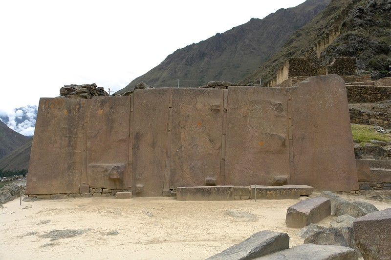 The famous 6 rose colored granite blocks at Ollantaytambo. Height about 4m.