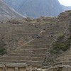 Ollantaytambo. The terrace fields of this megalithic city rise from the valley floor where even some of the buildings can be found. Much different than the more remote other 2 large cities Pisac and Machu Picchu.