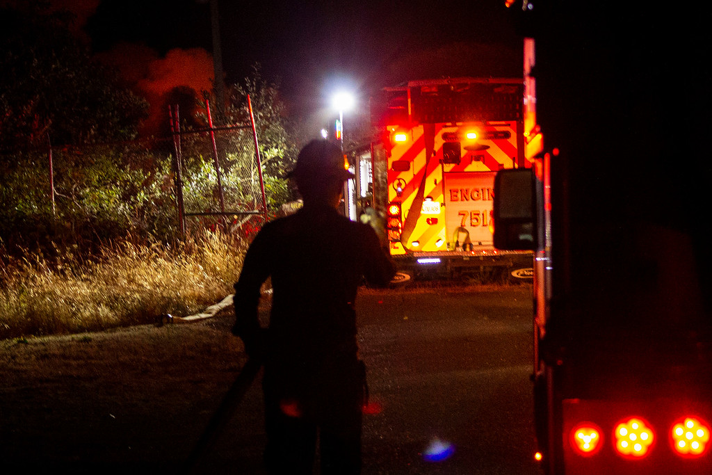 . Three fire engines and a truck responded to the Tuesday night fire at Olsen Dock in Fields Landing. (Thomas Lal - Contributed)