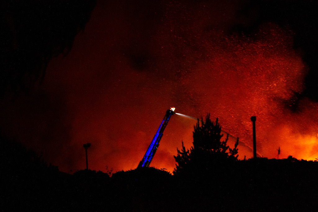 . Firefighters battle flames in Fields Landing on Tuesday night. (Thomas Lal - Contributed)