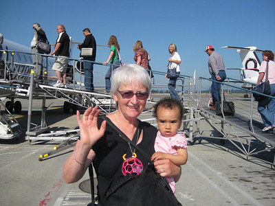 Heading for Billings 6/16/09      Esther Temba and her Bibi (Grandma Linda Bloom)