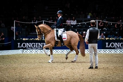 Carl Hester and Charlotte Dujardin riding Gio Dressage Unwrapped Olympia - The London International Horse Show Olympia, London, United Kingdom, GBR 16/12/19 - MANDARTORY Credit Sophie Harris/ SEH Photography  - NO UNAUTHERORISED USE - 07825091348
