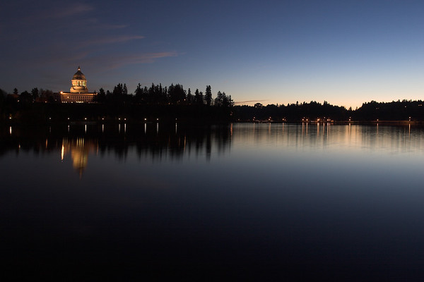 The Washington State Capitol and Capital Lake from Heritage Park