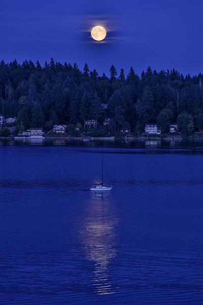 Moon and Sailboat - Budd Inlet, Olympia, WA